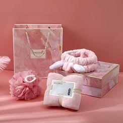 Soldana - 禮品套裝: 珊瑚絨面巾 + 洗臉頭帶 + 沐浴球