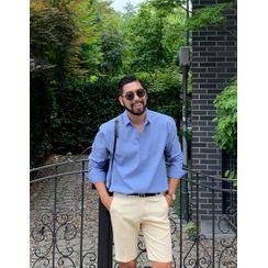 GERIO - Half-Placket Linen Blend Shirt