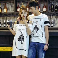 Igsoo(イグソー) - Couple Matching Short-Sleeve Striped T-Shirt / Mini A-Line Dress