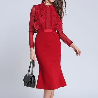 Seire - Long-Sleeve Crochet Lace Panel Midi Sheath Dress