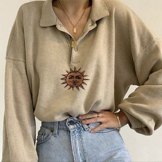 HERMITAKH - Zodiac Sun Embroidery Loose-Fit Polo Sweatshirt