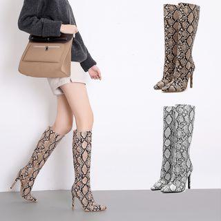 Niuna - Pointy Toe Snake Pattern High Heel Tall Boots