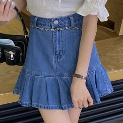 With You - Mini A-Line Denim Skirt