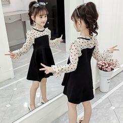 Qin Qin - 小童网纱拼接长袖A字迷你连衣裙