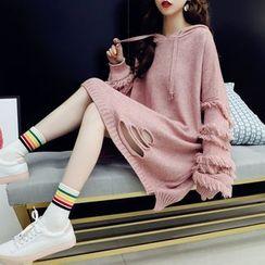 Beaustreet - Fringed Mini Knit Hoodie Dress