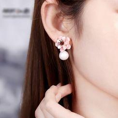 Gangnam - Retro Gemstone Flower Faux Pearl Earring