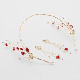 Suaylla - 套装: 婚礼碎花头箍 + 流苏耳环
