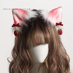 AOI - Cat Ear Chenille Headband / Hair Clip