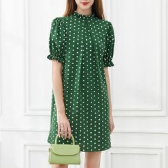 Pandaramma - Frill-Neck Puff Sleeve Polka Dot A-Line Dress