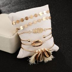 Yongge - Set of 6: Alloy Pineapple Shell Bracelet (assorted designs)