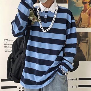 Banash - Striped Long-Sleeve Polo Shirt