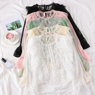 Babique - Ruffled-Trim Lace Top