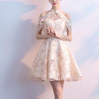 FullBloom - Cold-Shoulder Embroidered Mini Prom Dress