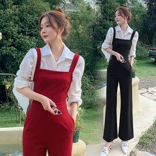 Yuxi - 純色無袖寬腿連衣褲