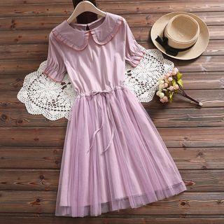 Fancy Show - Short-Sleeve Mesh Panel A-Line Dress