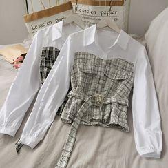 Lemongrass - Patchwork Crop Shirt with Belt