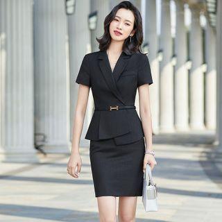 Quezza - Short-Sleeve Blazer / Mini Pencil Skirt / Dress Pants / Set