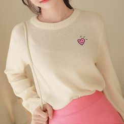 MyFiona - Heart-Patched Round-Neck Knit Top
