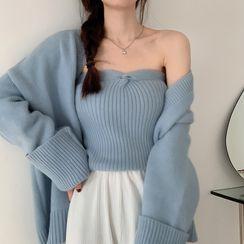Horae - Plain Cardigan / Knit Tube Top