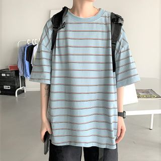 Deepwood - Elbow-Sleeve Striped T-Shirt