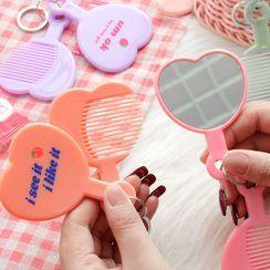 Hekki - Set: Heart Portable Mirror + Hair Comb