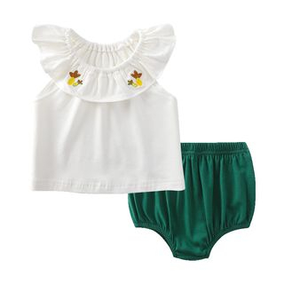 MOM Kiss - Baby Set: Embroidered Sleeveless Top + Diaper Cover