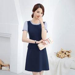 Victoire - 短袖条纹拼接A字迷你连衣裙