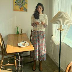 FROMBEGINNING - Smocked Rosette Chiffon Long Dress