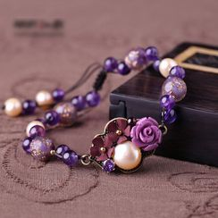 Gangnam - 花朵仿珍珠宝石手链