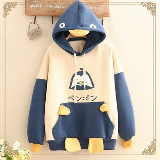 Kawaii Fairyland - Penguin Print Color-Block Hoodie