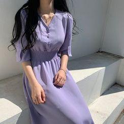 Leoom - Elbow-Sleeve A-Line Midi Chiffon Dress