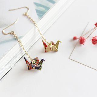 Green Isle - Origami Crane Drop Earring