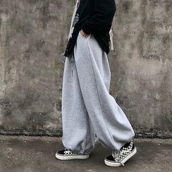 Shineon Studio - Plain Wide-Leg Jogger Pants