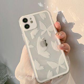 Moonam - Butterfly Phone Case - Iphone 7 / 8 / Se, 7 Plus / 8 Plus, X / Xs, Xs Max, Xr, 11, 11 Pro, 11 Pro Max, 12 Mini, 12, 12 Pro, 12 Pro Max, 13mini, 13, 13pro, 13pro Max