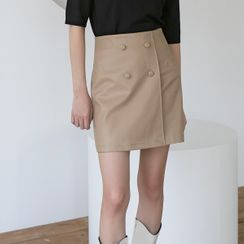 NAIN - Buttoned Pleather Wrap Miniskirt