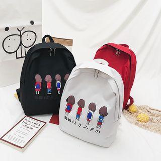 Mulgam - 套裝: 印花帆布背包 + 手提袋 + 小袋