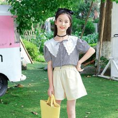 Pegasus - Set: Kids Collared Plaid Puff-Sleeve Blouse + Shorts