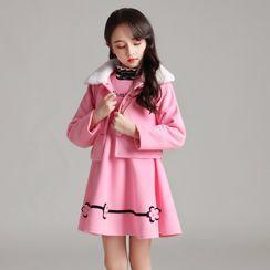 Doveark - Kids Set: Lettering Floral A-Line Dress + Furry Jacket