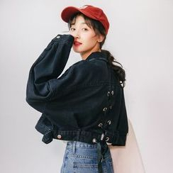 Miahynn - Lace-Up Back Cropped Denim Jacket