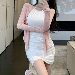Yako(ヤコ) - Halter-Neck Bodycon Suspender Skirt / Plain Long-Sleeve Cardigan