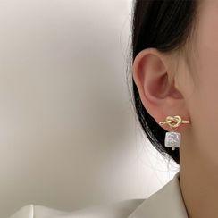 Kinkoza - Knot Alloy Square Freshwater Pearl Dangle Earring