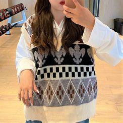 Nacarat - Patterned Knit Vest / Plain Hoodie