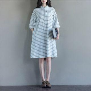 Fancy Show - 3/4-Sleeve Striped Dress