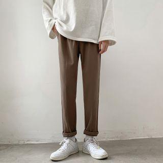 Freehop - High-Waist Plain Straight Cut Pants