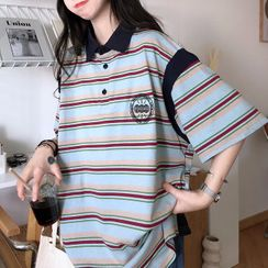 Pickxy - Elbow-Sleeve Striped Polo Shirt