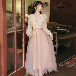 Nebbia - 套裝: 長袖蕾絲水手領襯衫 + A字網紗長裙