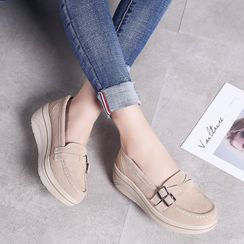 MINIKA - 真麂皮厚底輕便鞋