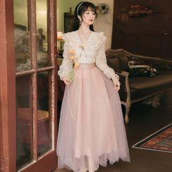 Nebbia - Set: Long-Sleeve Lace Sailor Collar Blouse + A-Line Mesh Maxi Skirt