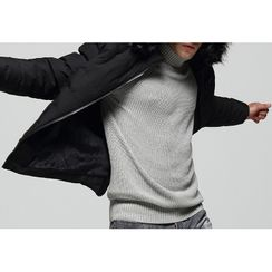 Carser - Furry Trim Hooded Padded Zip Jacket