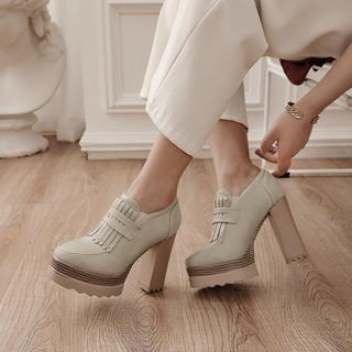 JY Shoes(JYシューズ) - Tassel Platform Chunky-Heel Shoes
